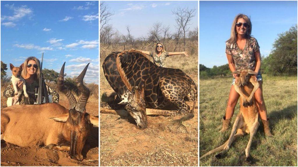 Resultado de imagen para Una mujer asesinó a una jirafa negra y se saca fotos junto al cadáver